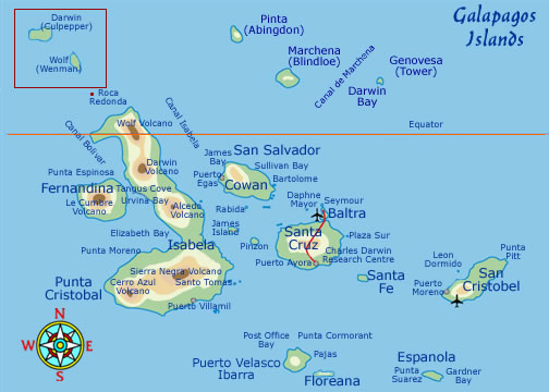 Galapagos Map - Key Image Of The Galapagos Islands on southeast asia map location, jamaica map location, tierra del fuego map location, british isles map location, greater antilles map location, puerto rico islands map location, denmark map location, austria map location, canada map location, czech republic map location, middle east map location, zimbabwe map location, panama map location, lesotho map location, uruguay river map location, hawaii islands map location, swaziland map location, namibia map location, philippines islands map location, galapagos map locator,